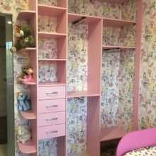 Шкаф-купе встроенный в детскую комнату из лдсп розового