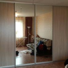 Шкаф-купе встроенный в гостиную из лдсп с зеркалом