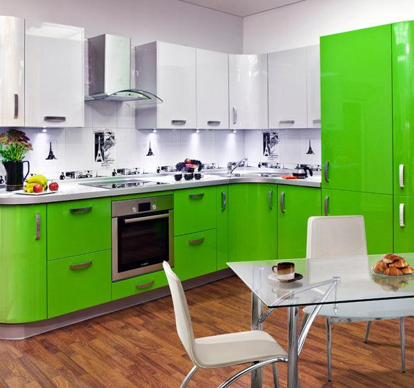 Кухня эмаль, белый глянец, зеленое яблоко - Вариант №1