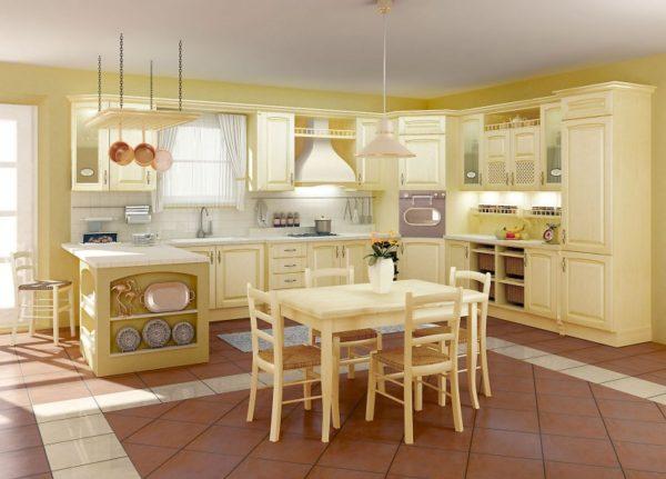 Кухня из массива, цвет - ясень бежевый производство Италия - Вариант № 28
