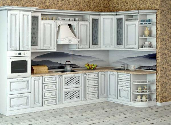 Кухня классика угловая, цвет - ясень патина серебро — Вариант № 12