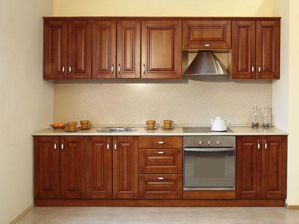 Кухня классика прямая, цвет - орех патина черная — Вариант № 14