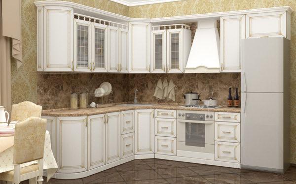 Кухня угловая, цвет - белый, патина золото — Вариант № 19