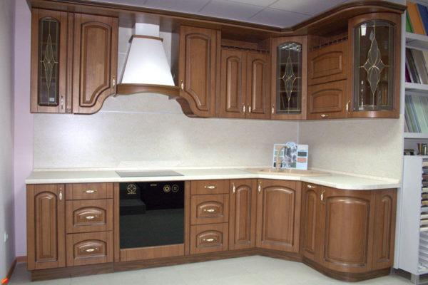 Кухня прямая, цвет - орех патина коричневая — Вариант № 22