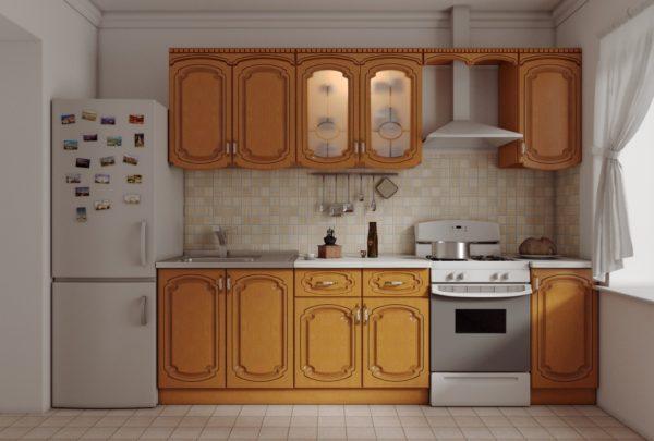 Кухня прямая, цвет - орех патина коричневая — Вариант № 23