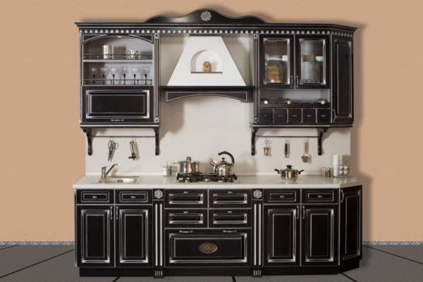 Кухня прямая, цвет - черный патина серебро — Вариант № 24