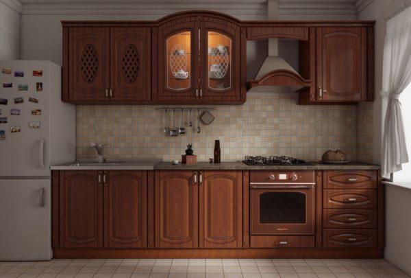 Кухня прямая, цвет - орех патина коричневая — Вариант № 25