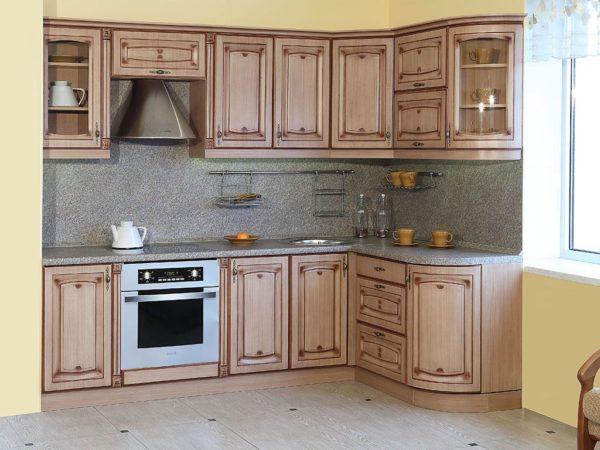 Кухня угловая, цвет - крем патина слоновая кость — Вариант № 27