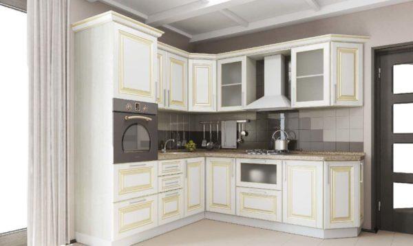 Кухня классика угловая, цвет - ясень светлый патина золото - Вариант № 7
