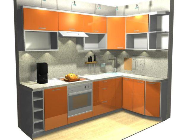 Кухня Egger тропика шафран в алюминиевой рамке - Вариант № 10
