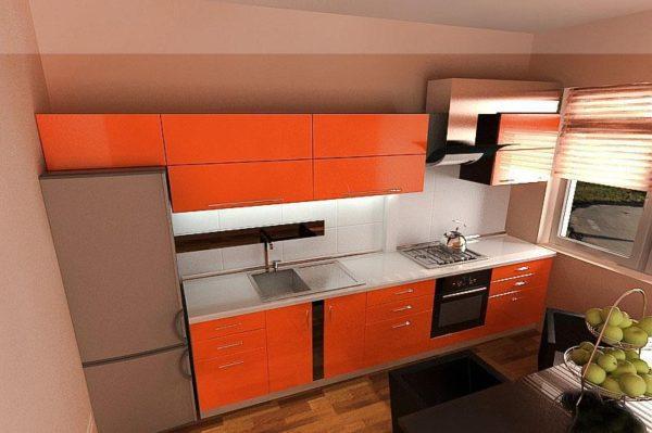 Кухня с пленкой пвх, цвет, манго - Вариант № 13