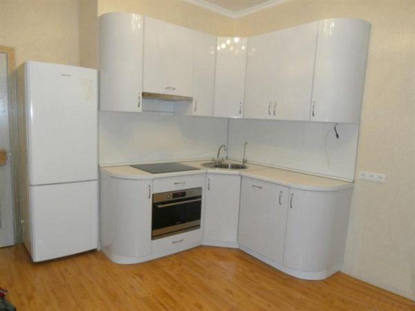 Кухня с пленкой пвх, угловая, цвет, белый - Вариант № 16