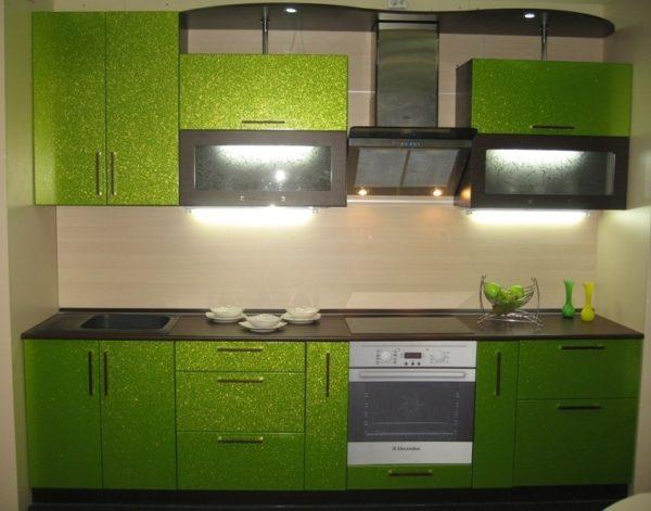 Кухня с пленкой пвх, цвет, зеленый металлик - Вариант № 17