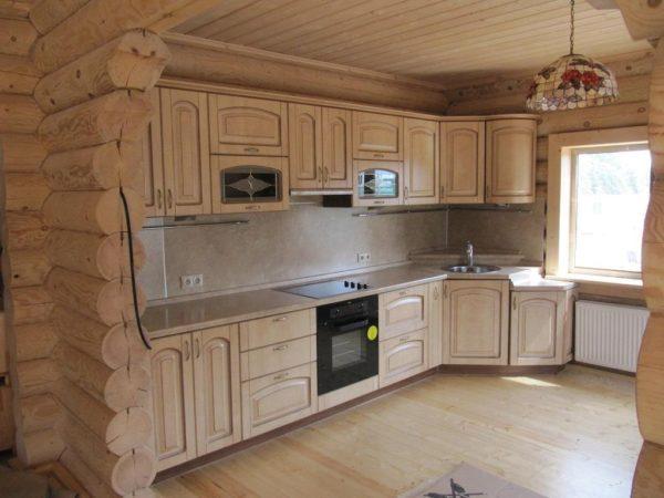 Кухня с пленкой пвх, цвет, ваниль структкрная, патина, слоновая кость - Вариант № 2