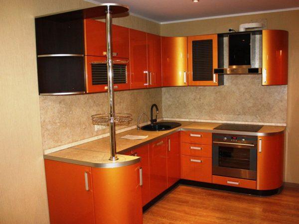 Кухня с пленкой пвх, цвет, золотистый — Вариант № 22