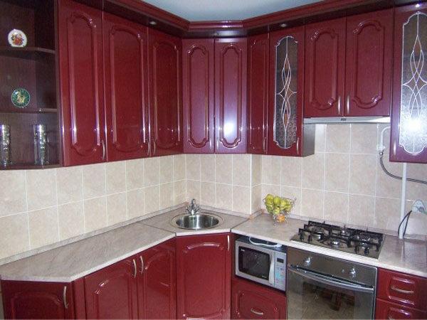 Кухня с пленкой пвх, цвет, рубин — Вариант № 25