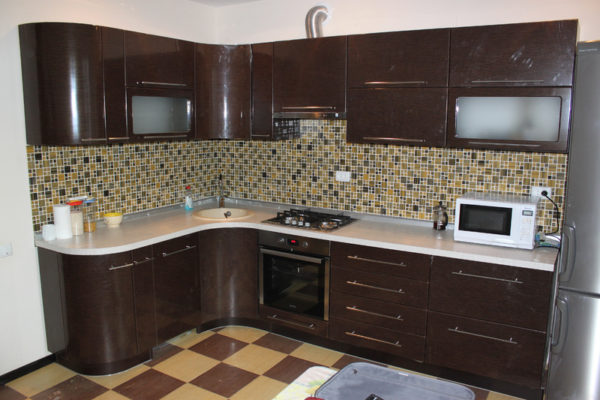 Кухня с пленкой пвх, цвет, шоколад - Вариант № 12