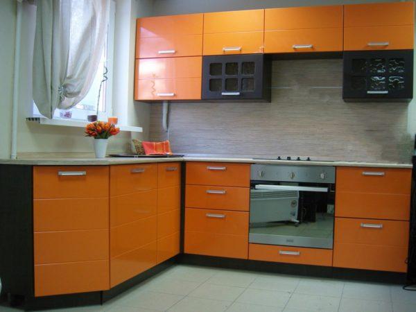 Кухня с пленкой пвх, угловая, цвет, апельсин - Вариант № 5
