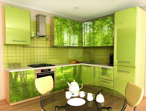Кухня с фотопечатью, на фасаде, акриловом, глянец - Вариант № 1