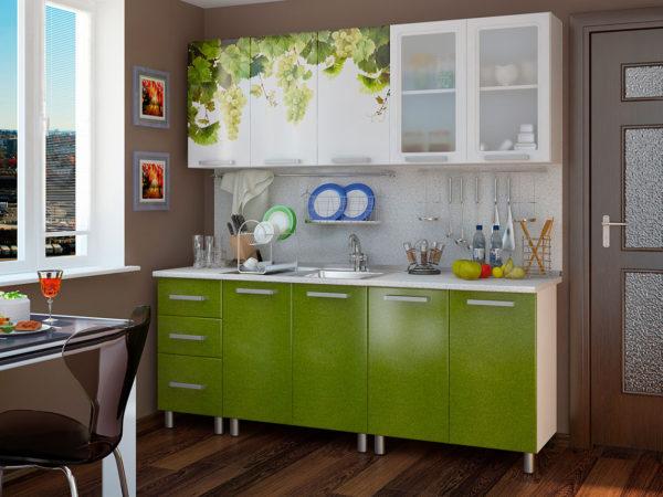 Кухня с фотопечатью, на фасаде, цвет, зеленый — Вариант № 11