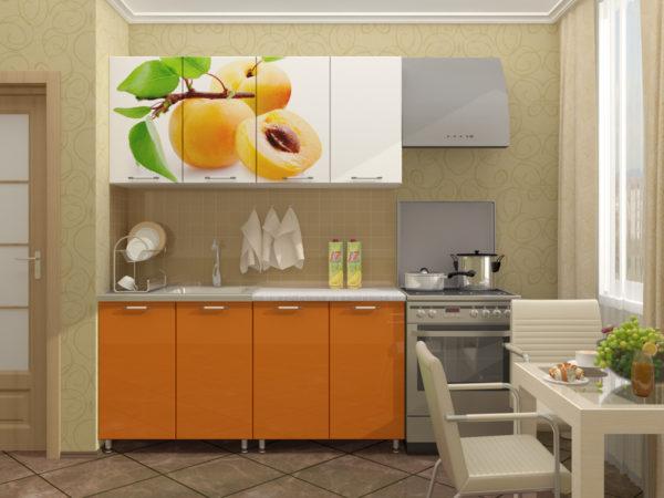 Кухня с фотопечатью, на фасаде, цвет, белый — Вариант № 12