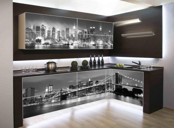 Кухня с фотопечатью, на фасаде, акриловом, глянец — Вариант № 13