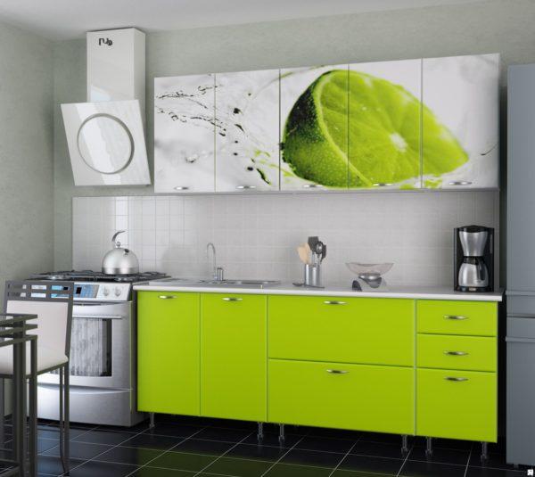 Кухня с фотопечатью, на фасаде, цвет, белый — Вариант № 14
