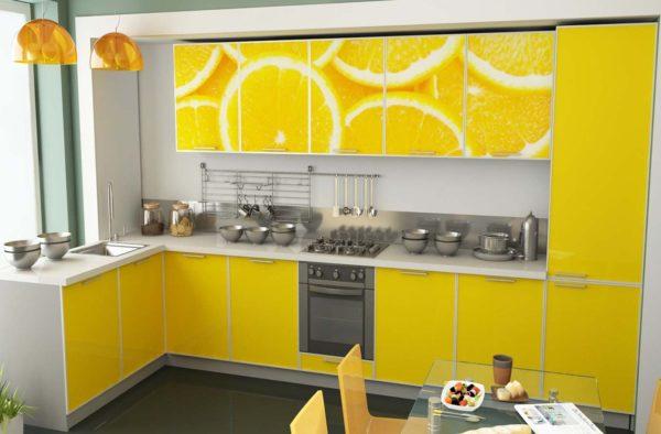 Кухня с фотопечатью, на фасаде, цвет, желтый — Вариант № 15