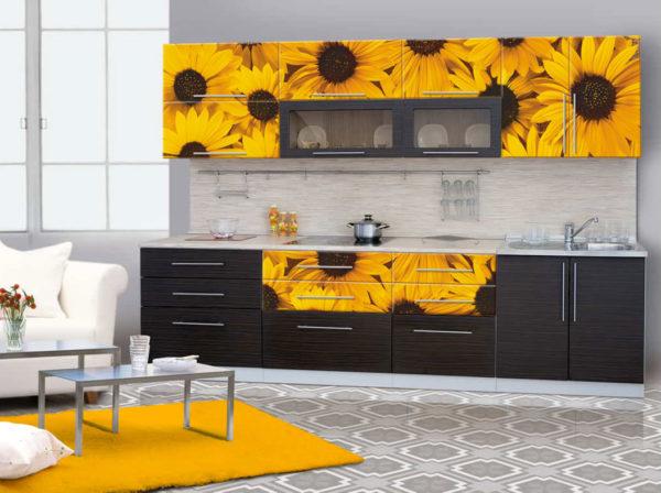 Кухня с фотопечатью, на фасаде — Вариант № 19