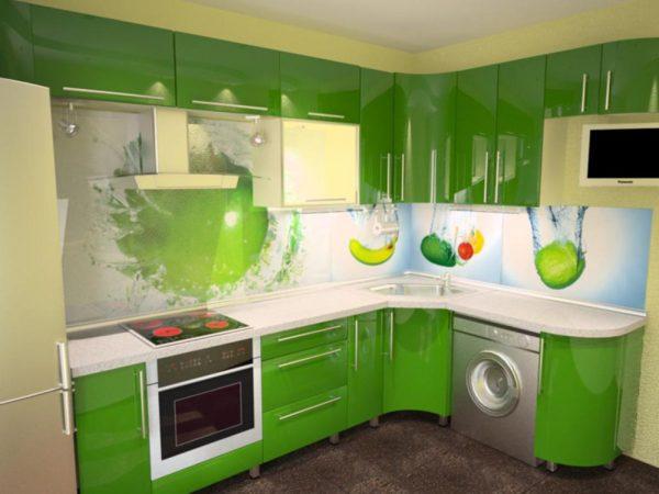 Кухня с фотопечатью, на стекле — Вариант № 28