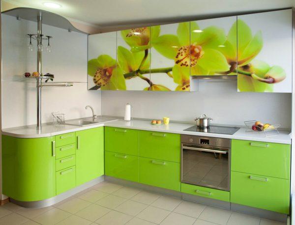 Кухня с фотопечатью, на фасаде, мдф — Вариант № 6