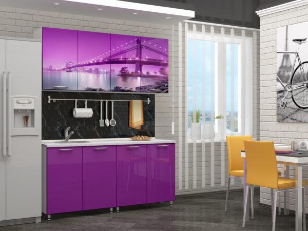 Кухня с фотопечатью, на фасаде, акрил, глянец — Вариант № 7