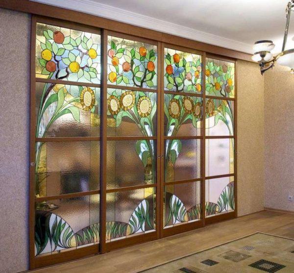 Шкаф-купе с Витражами на стекле - Вариант № 20