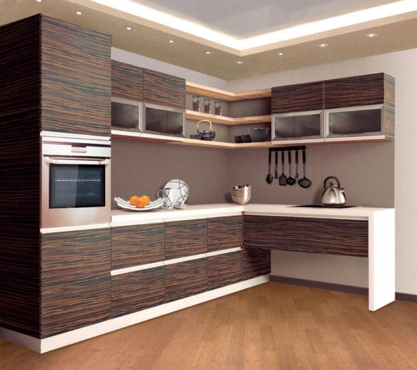 Кухня матовая, шпон, цвет, палисандр — Вариант № 12