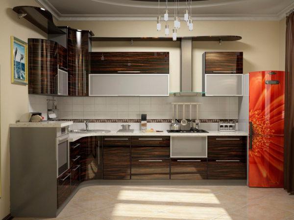 Кухня глянцевая, шпон, цвет, эбеновое дерево — Вариант № 17