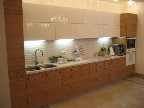 Кухня матовая, шпон, цвет, американский орех танген — Вариант № 3