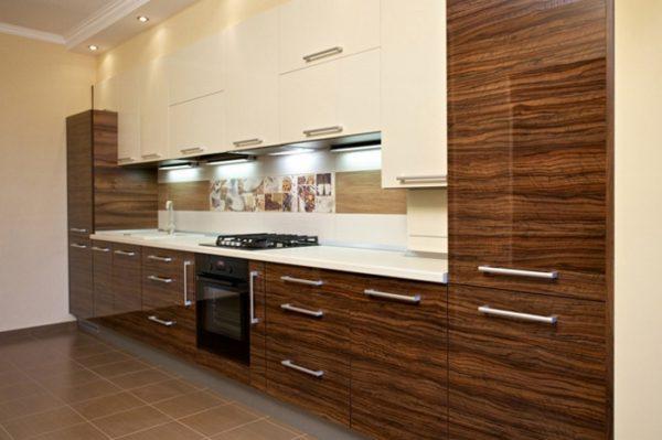 Кухня глянцевая, шпон, цвет, орех карамель — Вариант № 8