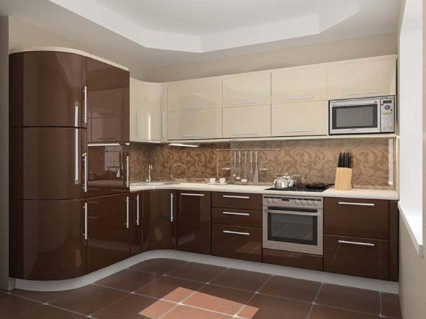 Кухня эмаль, цвет, шоколад и крем - Вариант № 2