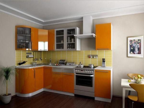 Кухня глянец, эмалированная, цвет, оранжевый - Вариант № 10