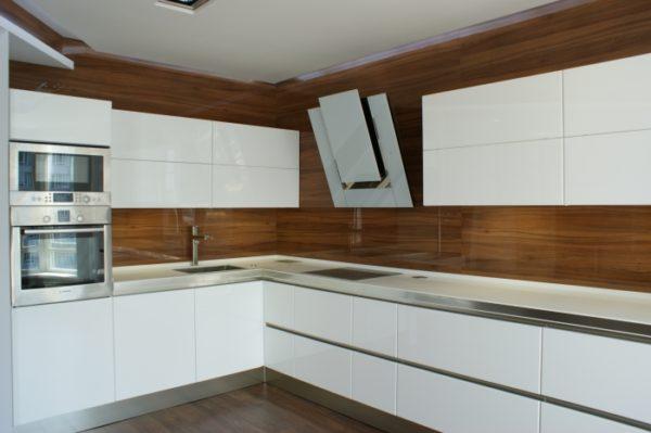 Кухня глянец, эмалированная, цвет, белый - Вариант № 12