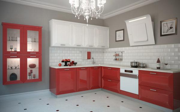 Кухня эмаль, цвет, белый с красным - Вариант № 14