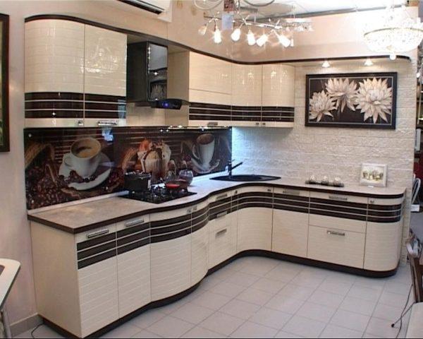 Кухня глянцевая, эмаль и шпон - Вариант № 15