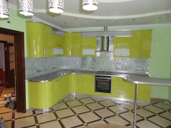 Кухня эмаль, глянец, цвет, лимон - Вариант № 16
