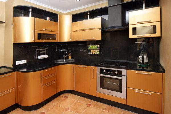 Кухня эмаль, глянец, цвет, золото - Вариант № 17