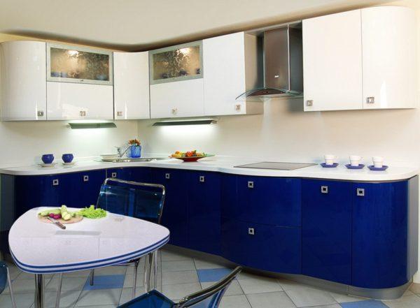 Кухня эмаль, глянец, цвет, синий - Вариант № 18