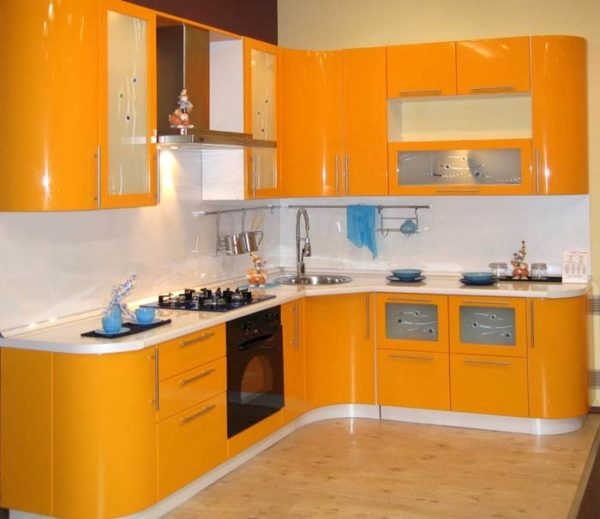 Кухня эмаль, глянец, цвет, желтый - Вариант № 19
