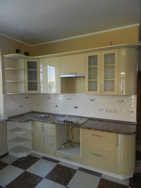 Кухня эмалированная, глянец, цвет, крем - Вариант № 22