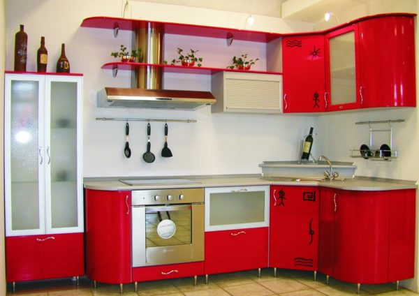 Кухня эмалированная, цвет, красная - Вариант № 24