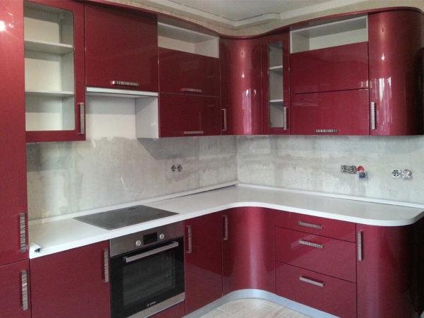 Кухня эмалированная, глянец, красная - Вариант № 25