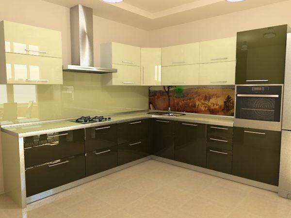 Кухня эмаль, цвет, зеленый - Вариант № 6